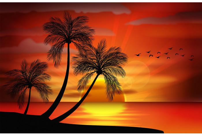 Модульная картина Закат в тропиках